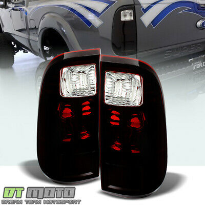 Pair 2008-2016 Ford F250 F350 SuperDuty Truck Red Smoked Tail Lights Brake Lamps