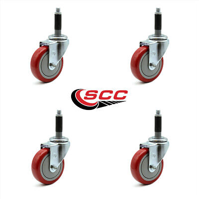 Scc 4 Red Polyurethane Swivel Casters W34 Expanding Stem - Set Of 4