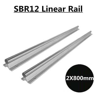 2pcs Sbr12 L800mm Shaft Rod Fully Supported Linear Rail Guide Us Shipping