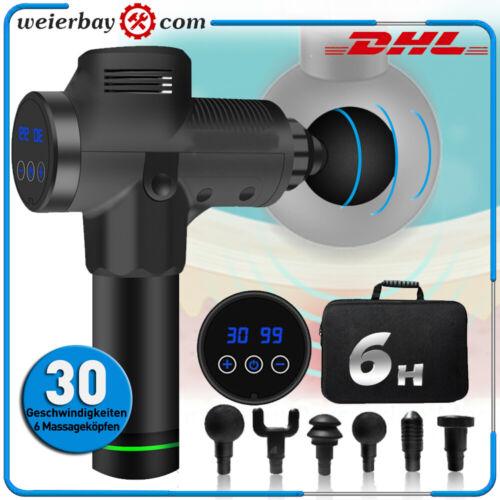 LCD Massage Gun Massagepistole mit 6 Massageköpfen 30 Geschwindigkeiten Massager