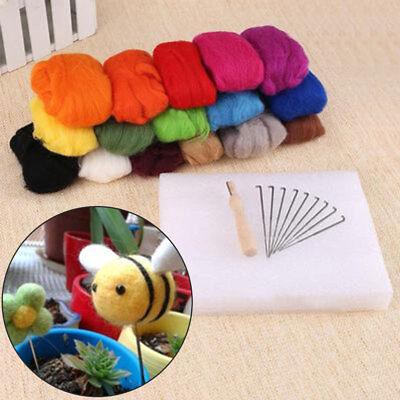 Filzwolle 16 Farbe Märchenwolle Trockenfilzen Schafwolle Filzen Werkzeug Basteln