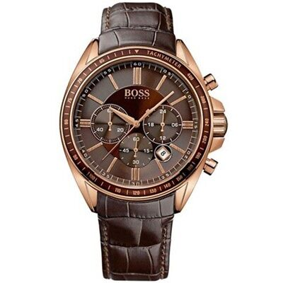 HUGO BOSS MENS DRIVER CHRONOGRAPH WATCH HB1513093  BROWN DIAL LEATHER, RRP - Driver Chronograph Watch