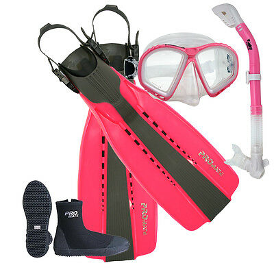 Lady Pink Scuba Dive Purge Mask Dry Snorkel 5mm Zipper Boots Open Heel Fins Set