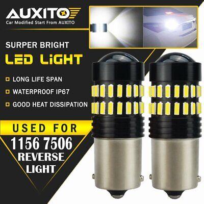 2 PC AUXITO BA15S 1156 P21W 7506 Reverse Back Up Light White LED Bulb 48-SMD EOA ()