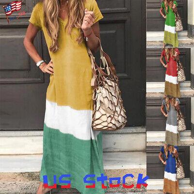 Women Loose Baggy Casual T-Shirt Dress Party Maxi Skirt Color Block Vacation - Dress Color Block