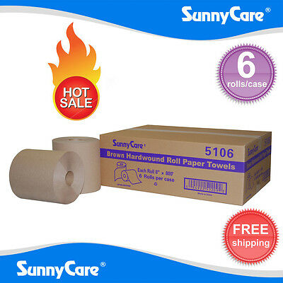 Sunnycare 5106 Hardwound Paper Roll Towels 8 X 800brown 6 Rolls Per Case