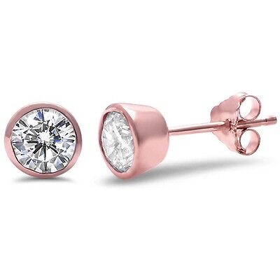 Rose Gold Plated Round Bezel Set Cubic Zirconia .925 Sterling Silver Earring Cubic Zirconia Bezel Set Earrings