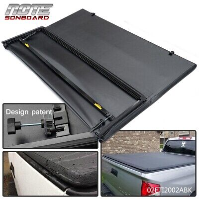 FIT FOR 2016-2021 TOYOTA TACOMA LOCK TRI-FOLD TONNEAU COVER 5FT SHORT BED BLACK