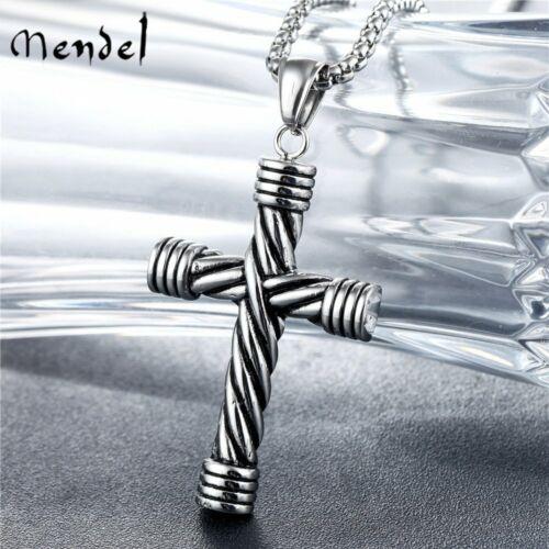 MENDEL Mens Goth Stainless Steel Christian Cross Pendant Nec