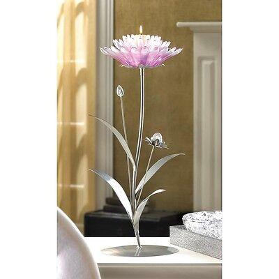 Pink Wedding Centerpieces (Pink Silver Lotus Candelabra Large Candle Holder Wedding Centerpieces 19