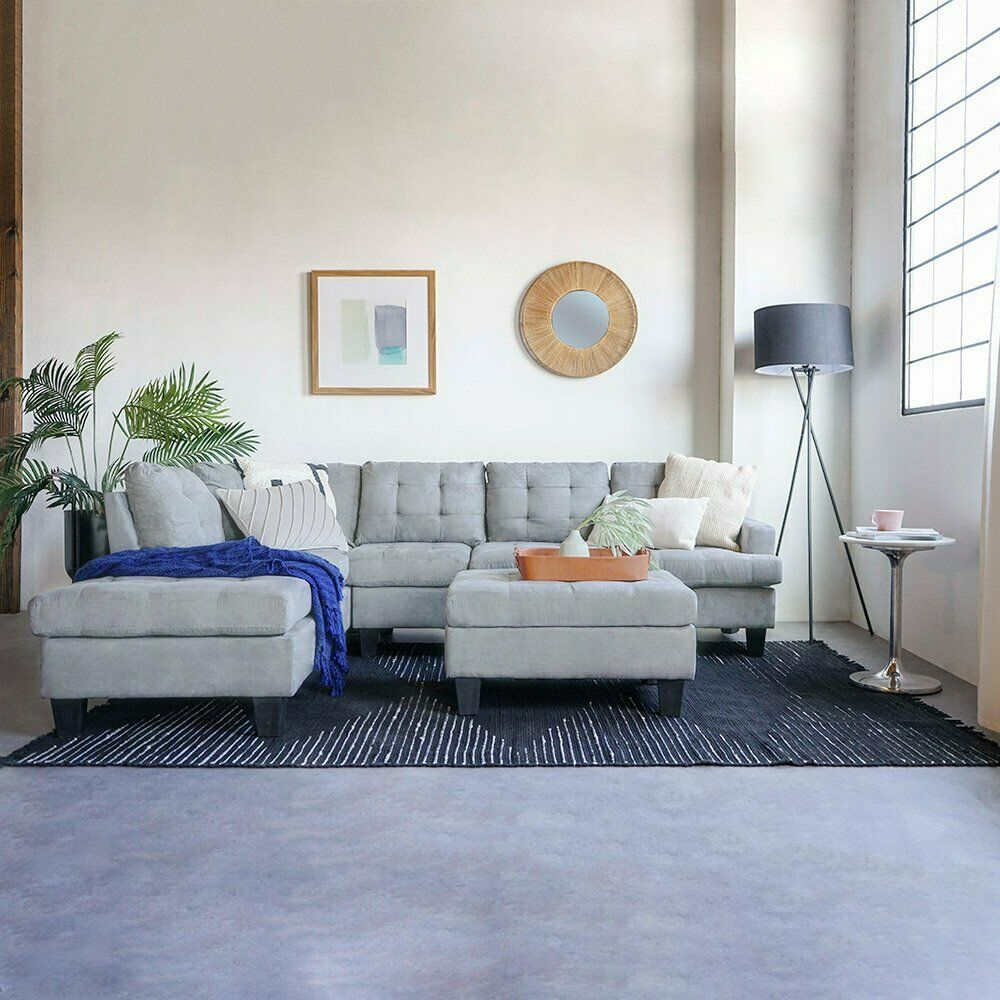 Modern 3 Piece Living Room Set Grey Sectional with Ottoman, Sofa & Chaise, Grey