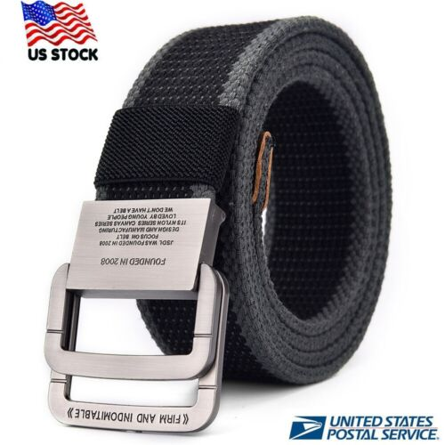 Canvas Belt Mens Military Webbing Casual Jeans Adjustable Double D Ring Buckle