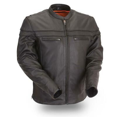 Womens Ladies Black Scooter Collar Leather Jacket, Reflective Piping,Gun Pockets Ladies Scooter Jacket