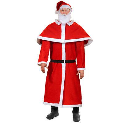 Weihnachtsmann Kostüm Set Nikolaus Santa Claus Anzug Verkleidung Cosplay Bart