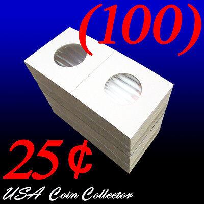(100) Quarter Size 2x2 Mylar Cardboard Coin Flips for Storage   25 Cent Holders