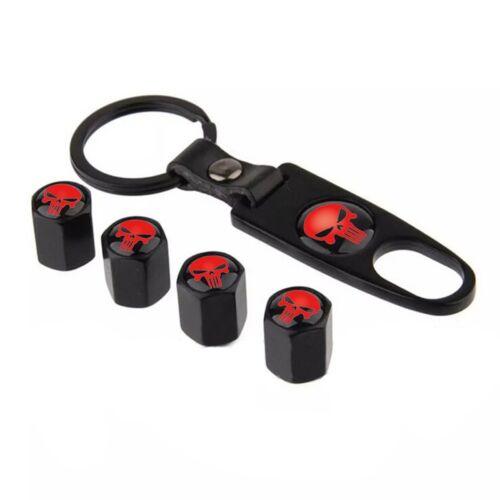 Car Wheel Tyre Stem Air Valve Covers Dust Caps Key Chain Red Skull Punisher Pop
