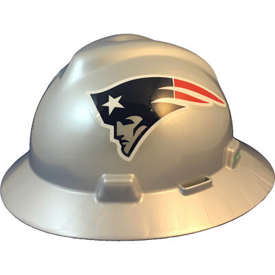 Msa V-gard Full Brim New England Patriots Nfl Hard Hat Type 3 Ratchet Susp
