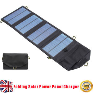 Solar Panel Folding Portable Power Charger USB Camping Travel Phone Battery 5V