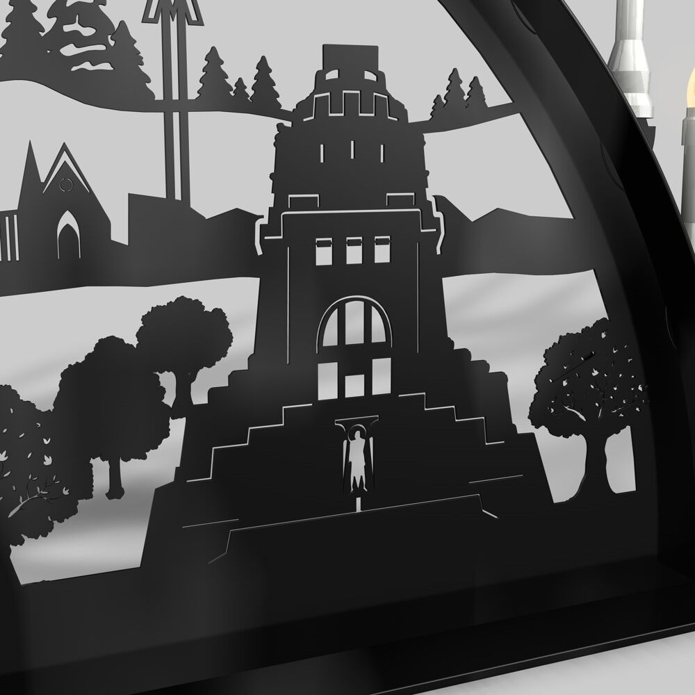 schwibbogen lichterbogen leipzig weihnachten metall xxl au en schwarz outdoor eur 369 00. Black Bedroom Furniture Sets. Home Design Ideas
