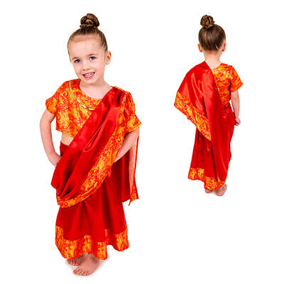 GIRLS KIDS INDIAN GIRL OR LADY SARI BOLLYWOOD FANCY DRESS COSTUME OUTFIT AGE 3-7 - Bollywood Kids Costume