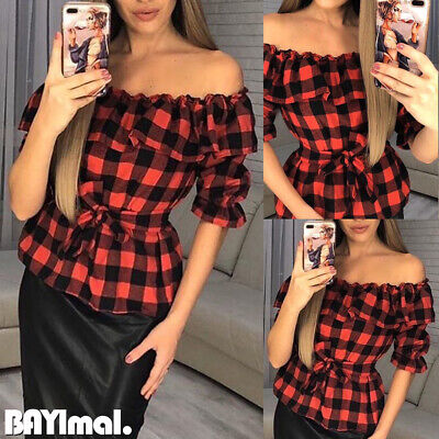 Women Ruffle Off Shoulder Long Sleeve T Shirt Ladies Casual Plaid Blouse Tops UK