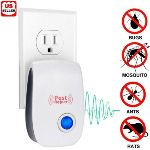 Ultrasonic Pest Reject Repeller Control Bugs Ant Fleas Spiders Rats Mice Rodents Home & Garden