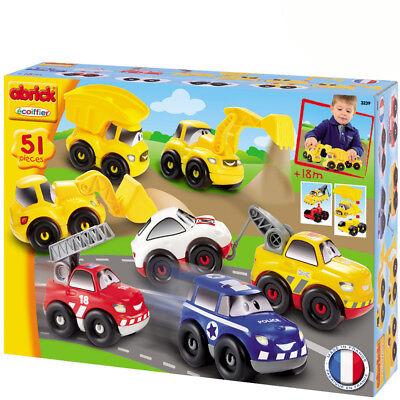 7 Spielzeugauto Geschenkbox Polizei Auto LKW Bagger Rennwagen Kinderspielzeug