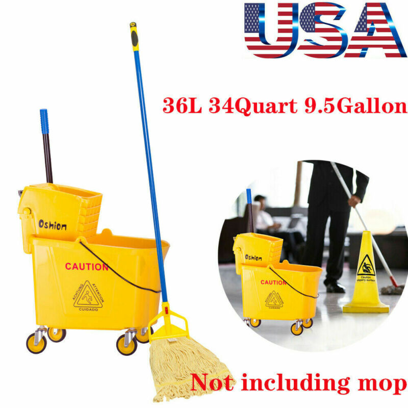 36L Commercial Mop Bucket w/Side Press Wringer on Wheels Cleaning 34Quart Yellow