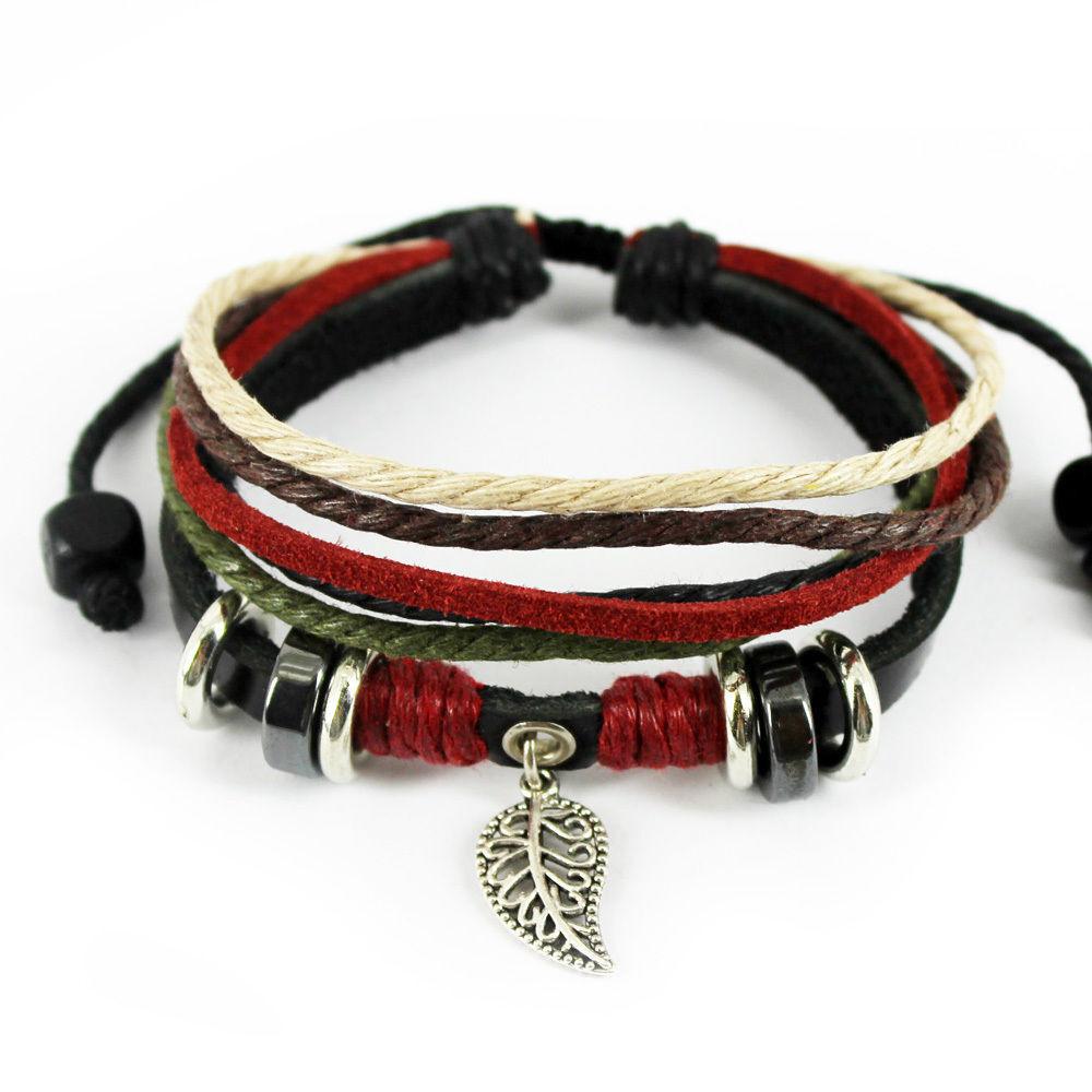 men women leaf black leather adjustable bracelet handmade