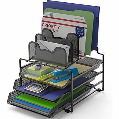SimpleHouseware Letter Trays & Stacking Supports Desk 3 Sliding And 5 Section Desk Tray Stacking Support