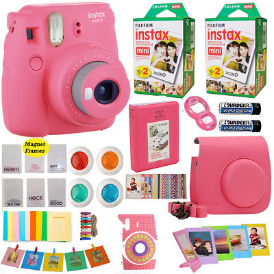 Fujifilm Instax Mini 9 Minute Camera Pink + 40 Film Valentine Power Acc Bundle