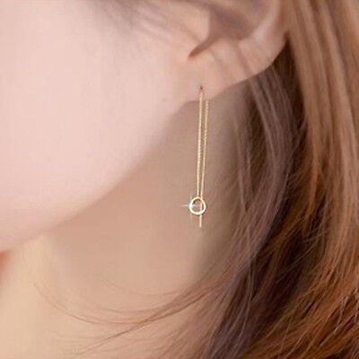 TPD 14K Solid Yellow Gold Ring Ring Chain Threader Long Drop Dangle Earrings