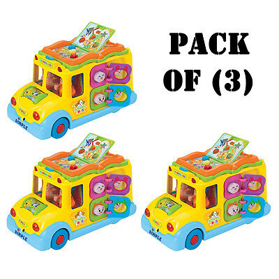 Pack of (3) Dimple DC5008 Fun Learning Activity School Bus w/ Lights & Sounds
