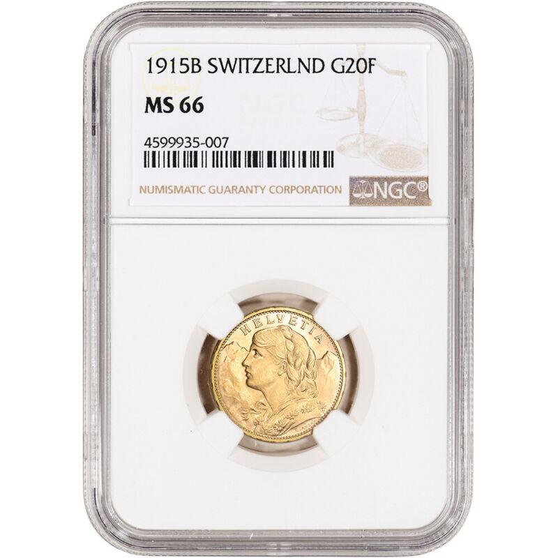1915 B Switzerland Gold 20 Francs - NGC MS66