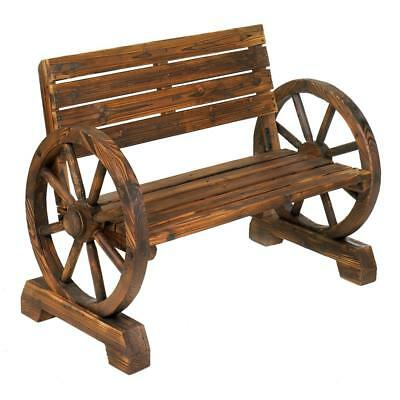 Used, New Wagon Wheel Bench Outdoor Garden Lawn Patio Furniture Country Rustic Wood for sale  Albuquerque