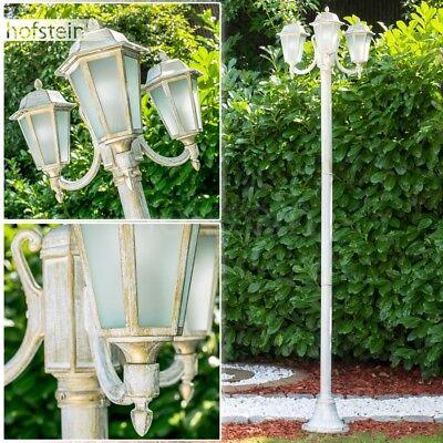 Weiß Kandelaber (Aussen Steh Leuchten Kandelaber weiß Gold Garten Wege Lampen Milchglas Laterne)