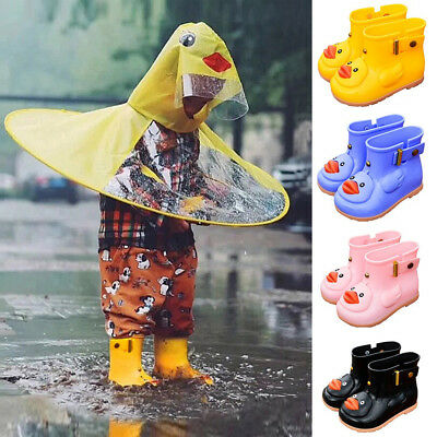 Toddler Kids Cartoon Duck Rubber Waterproof Boots Rain Shoes Prewalker Best