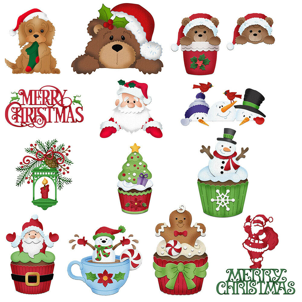 christmas winter snowman animal santametal cutting dies