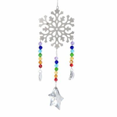 Crystal Suncatcher Rainbow Beads Metal Snowflake Xmas Hanging - Crystal Suncatchers