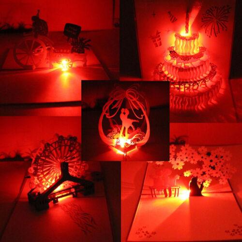 Handmade 3D Pop Up Greeting Cards LED Light  Happy Birthday Music Postcards