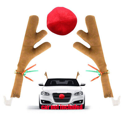 Reindeer For Cars (Reindeer Antlers and Nose for Car Window Christmas Vehicle Costume)