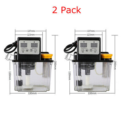 2 Pack 110v Automatic Electric Lubrication Pump Cnc Oiler Dual Digital Display