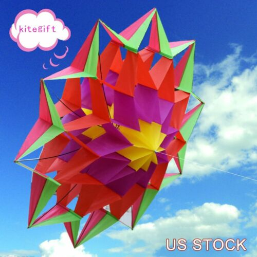 3D Rainbow Colorful Flower Kite Single Line Outdoor Toy Flyi