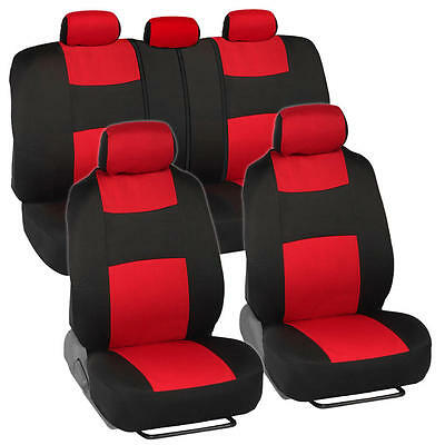 Car Seat Covers for Honda Accord Sedan, Coupe Red & Black Split (1989 Honda Accord Coupe)