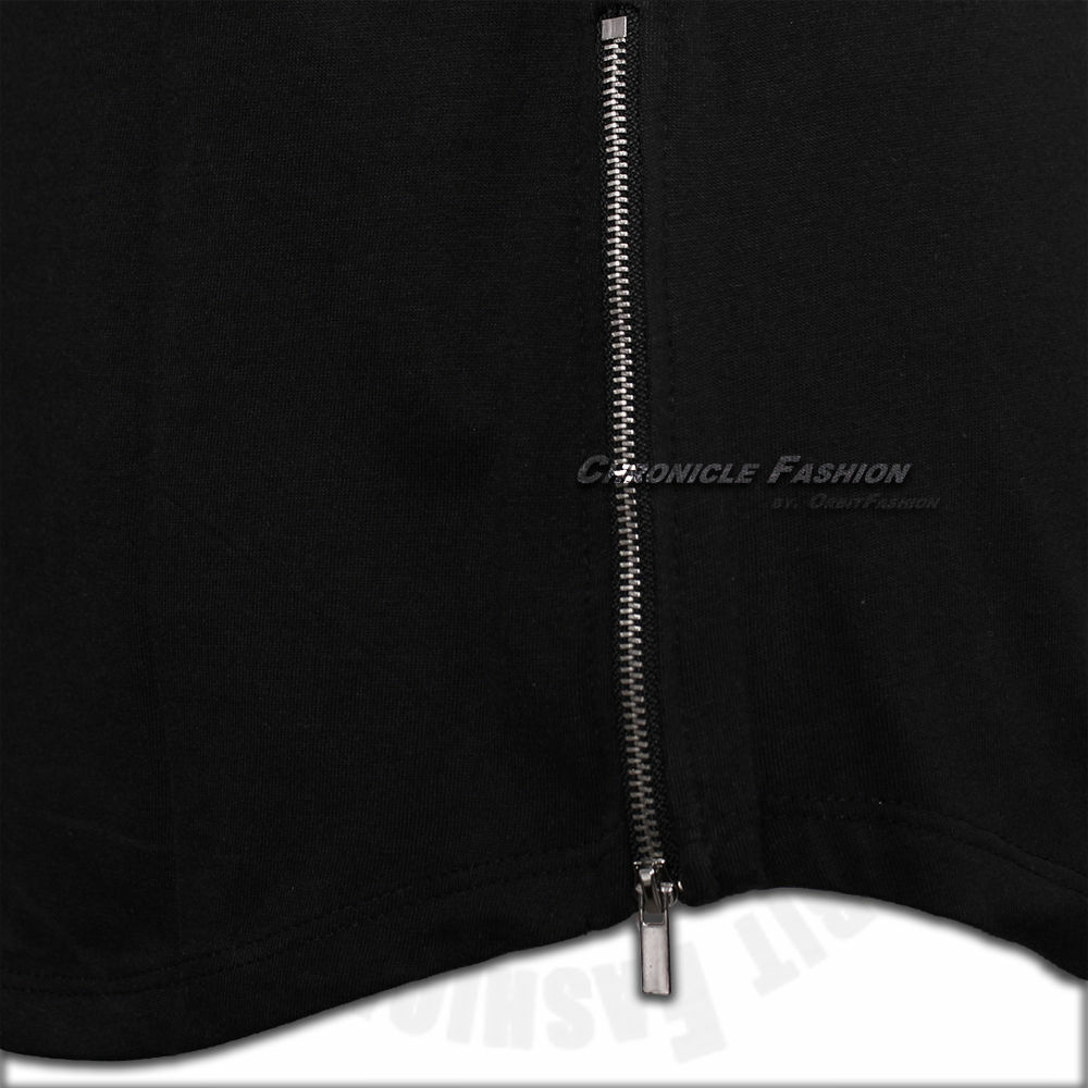 Mens Long T Shirt Hip Hop Zipper Crew Neck Elongated Extended Tee Casual Fashion