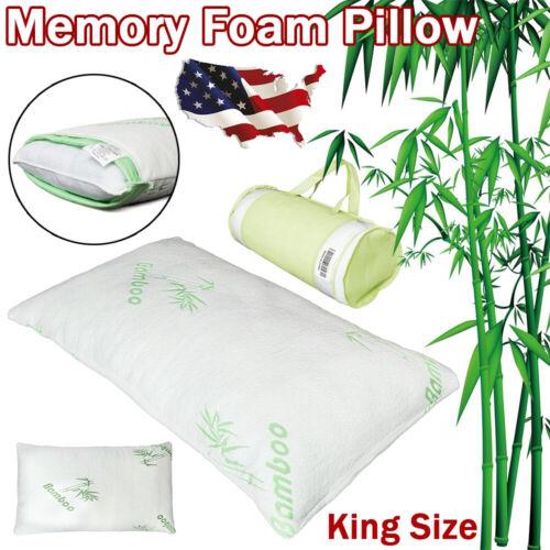 Shredded Bamboo Memory Foam Bed Pillow w/Hypoallergenic Fibe