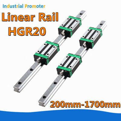 2pcs Hgr20 Linear Guide Shaft Rod 4pcs Hgr20ca Bearing Block 200-1700mm Cnc