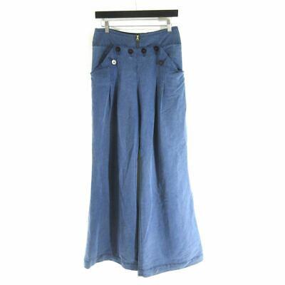 6 - Elevenses Anthropologie Blue Wide Leg Sailor Button Pleated Pants 0000MB