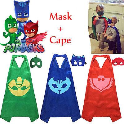 3 X Kinder Superheld PJ Masks Owlette Catboy Gekko Cape+Masken Set ParteiKostüm