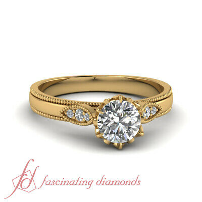 Vintage Style Engagement Ring With 0.65 Ct Round Cut Diamond 18K Yellow Gold GIA 1